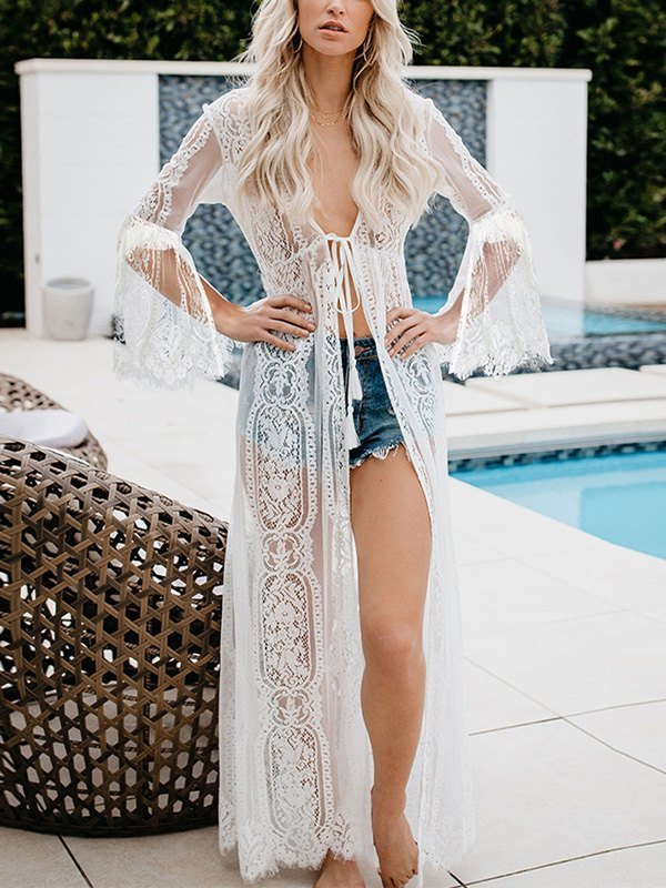 Sheer Lace Maxi Cover-up -