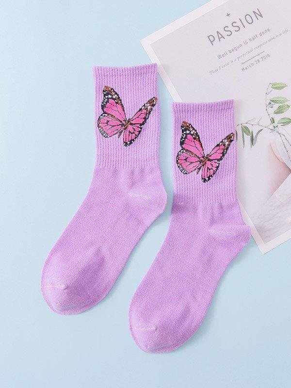Chaussettes mi-mollet en jacquard papillon - Violet ONE SIZE