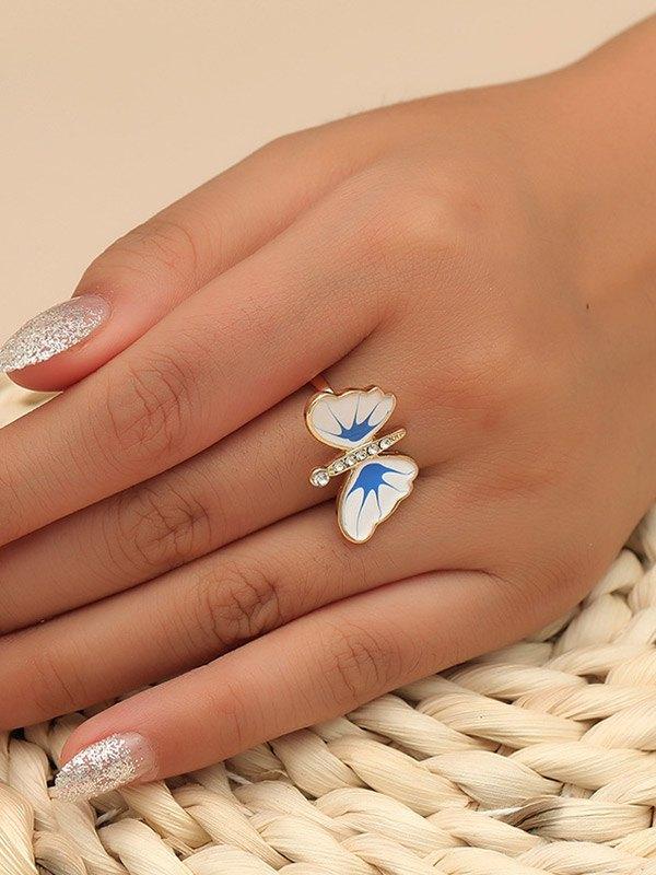 Bague papillon en strass dégoulinant - Bleu ONE SIZE