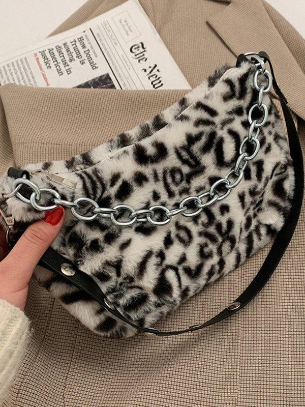 Borsa a tracolla fuzzy con stampa animalier - Leopardato ONE SIZE