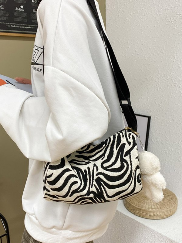 Borsa a tracolla con stampa zebrata - Nero ONE SIZE