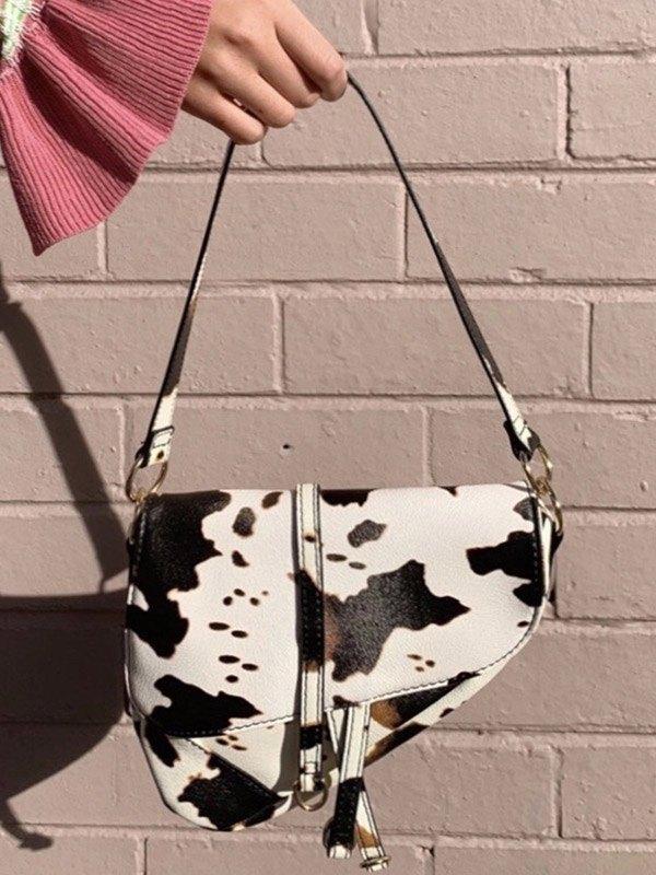 Borsa da sella con stampa mucca - Come l\'immagine ONE SIZE