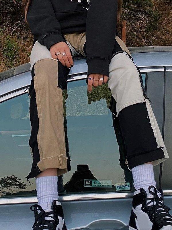 Patchwork Stretch Boyfriend Jeans - Black M