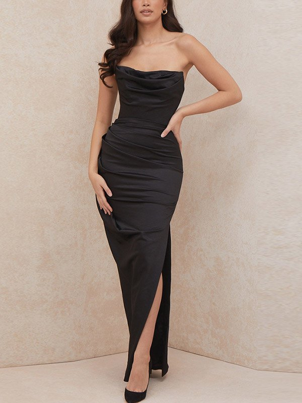 Robe longue bandeau en satin - Noir S