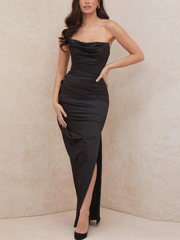 Satin Bandeau Maxi Dress - Black M