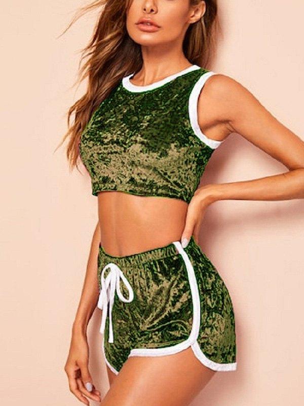 Velour Shorts Pajama Set - Green M