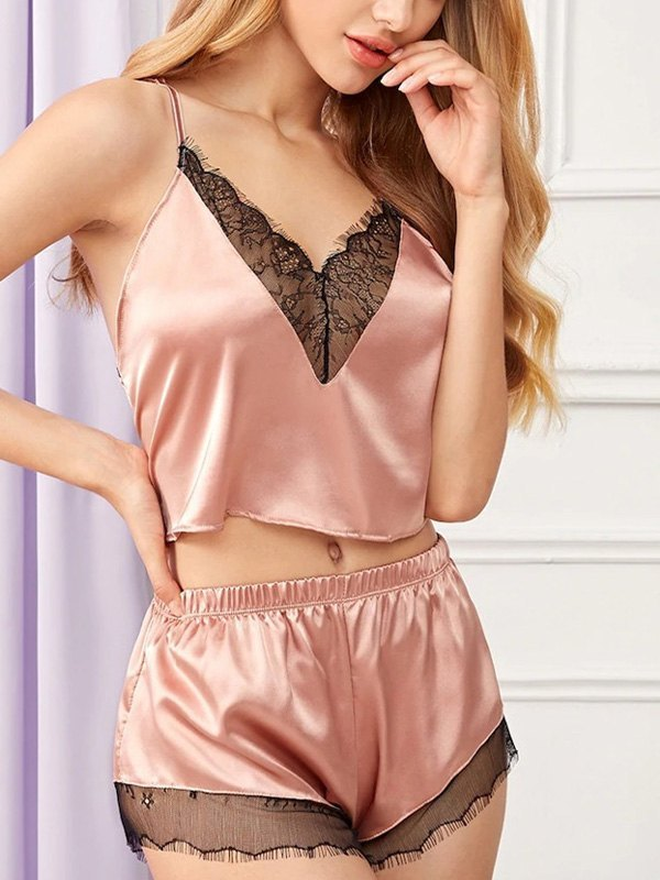 Faux Silk Cozy Pajama Set - Pink S