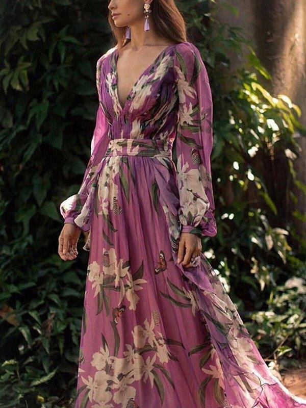 Plunge Long Sleeve Maxi Dress - Purple XL