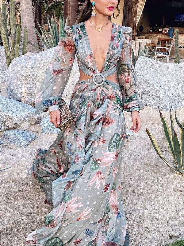 Plunge Cross Over Maxi Dress - Green S