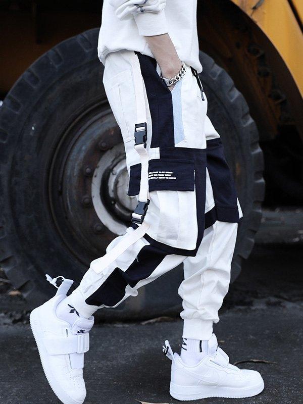Men's Buckle Detail Cargo Pants - White M