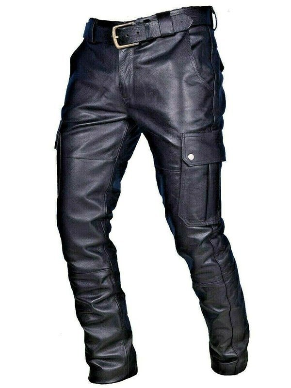 Men's Belted Pu Leather Pants - Black XL