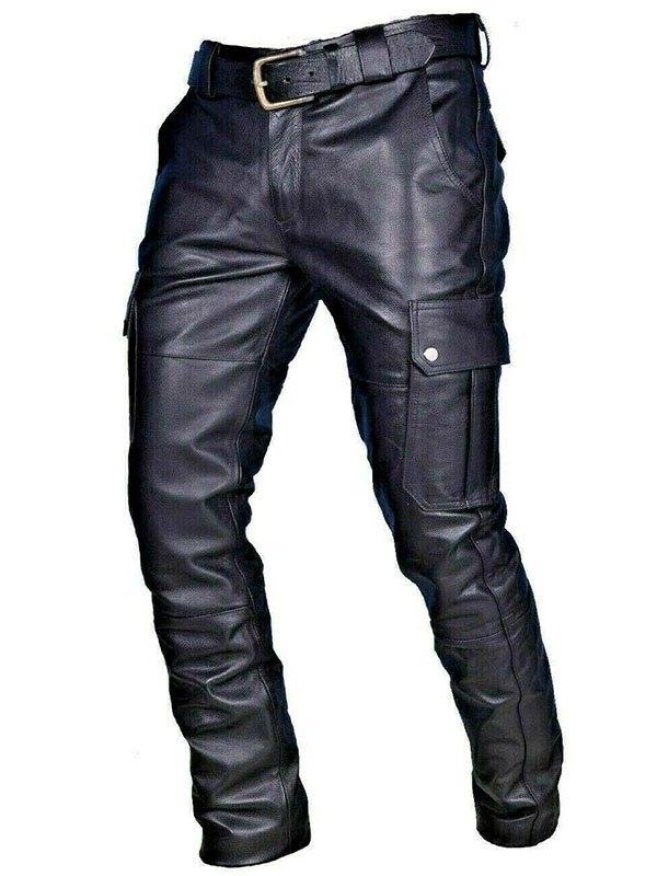 Pantaloni in pelle da uomo con cintura - Nero S