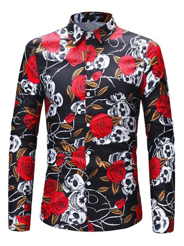 Men's Rose Skull Print Shirt -