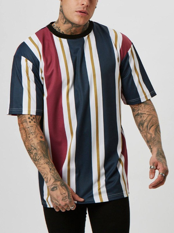 Men's Striped Short-Sleeve Tee - Navy Blue M