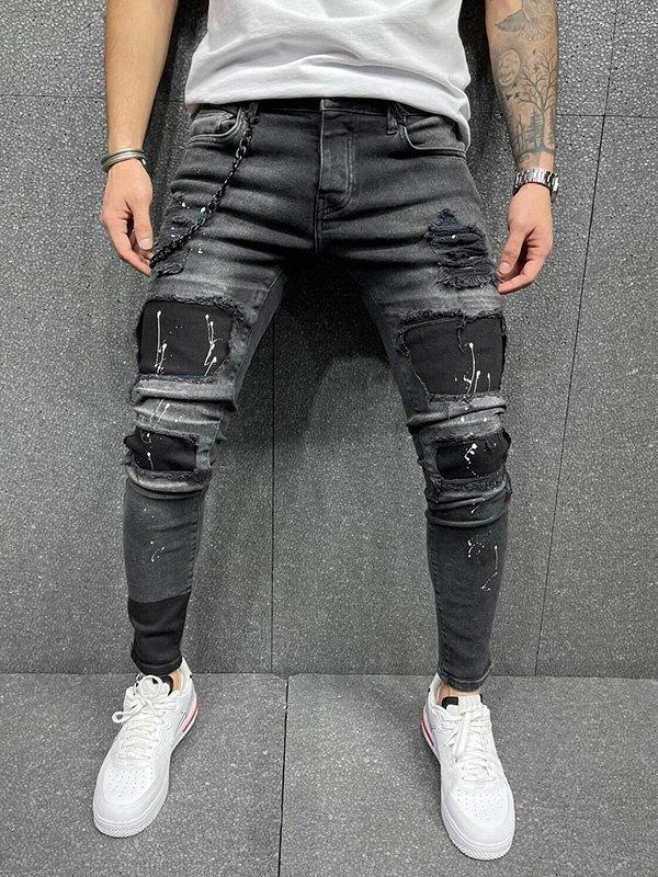 Jean skinny stretch à patchs pour hommes -