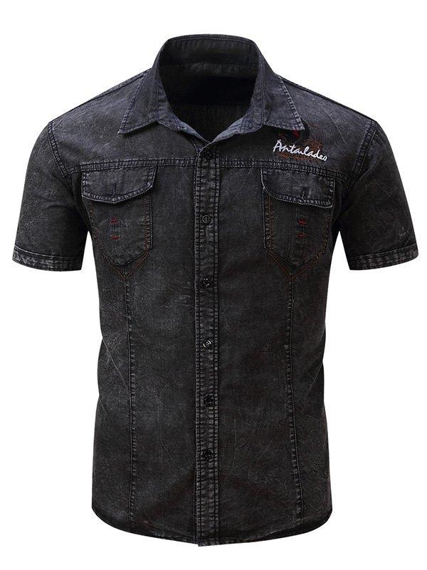 Chemise en jean à manches courtes vieillie pour hommes - Noir M
