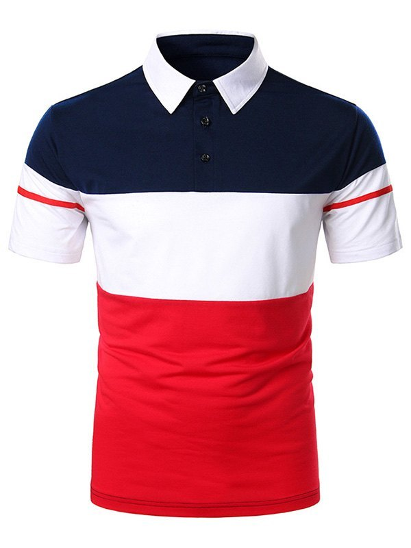 Men's Color Block Polo Tee - Red S