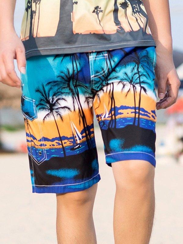 Short de bain de plage imprimé pour homme - Bleu S