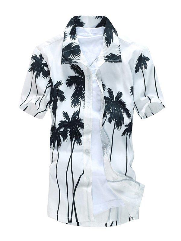 Chemise de plage à manches courtes pour hommes - Blanc 5XL