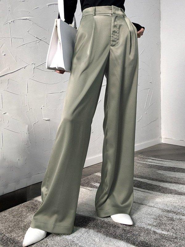 Satin High Waist Solid Pants - Green S