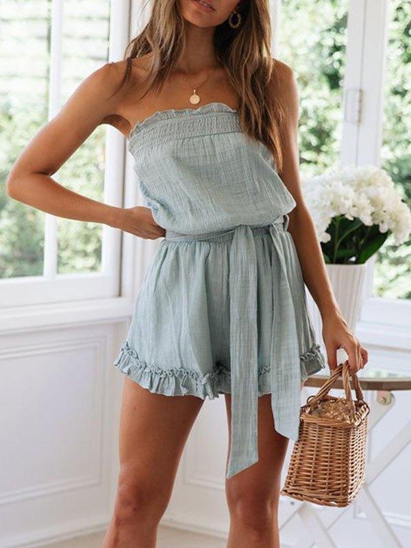 Cotton Linen Strapless Romper - Pure Blue M