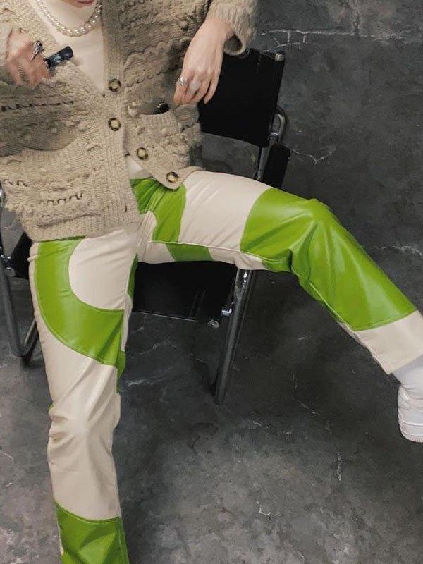 Swirl Pu Leather Pants - Green S