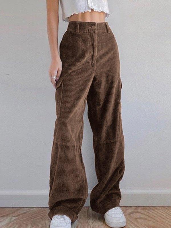 Vintage Corduroy Baggy Pants - Brown S