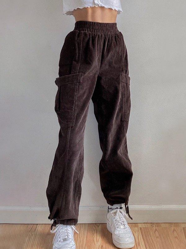Corduroy High Waist Cargo Pants - Brown L