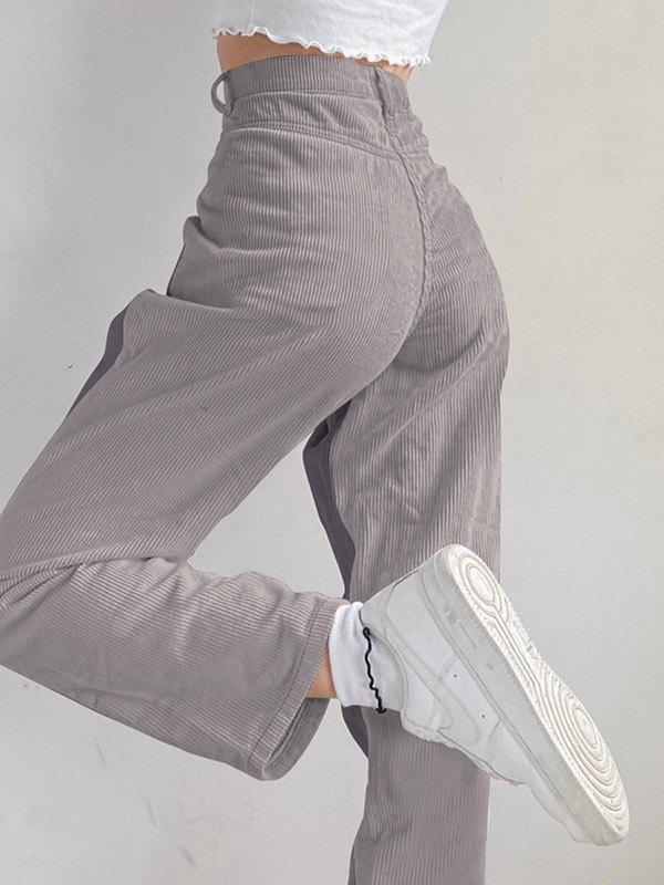 Corduroy Patchwork High Waist Straight Pants - Gray S
