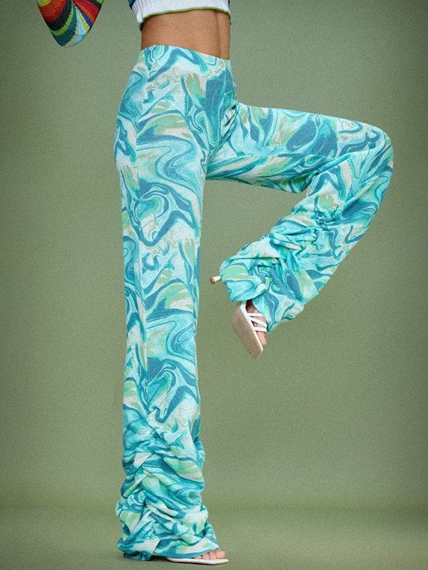 Wave Print Tie-Dye Stacked Pants - Pure Blue S