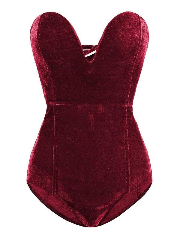 Velvet Strapless Bodysuit - Burgundy L