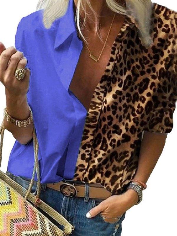 Leopard Contrast Print Chiffon Blouse - Blue XL