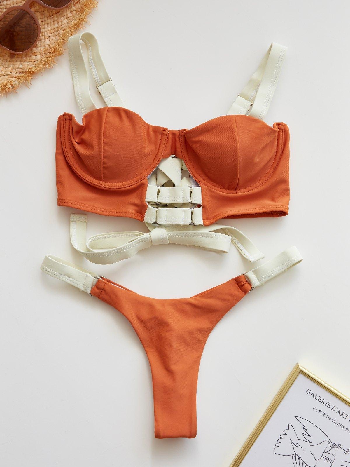 Patchwork Bandage Bikini Set - Vermilion S