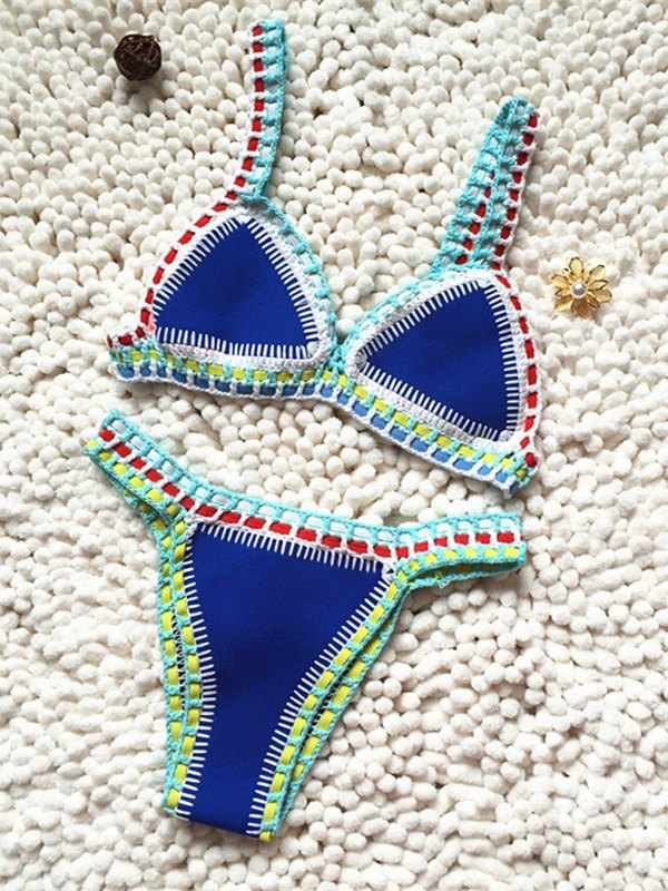 Color Block Stitched Bikini Set -