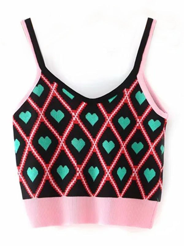 Sweet Love Cropped Cami Knit - Pink ONE SIZE