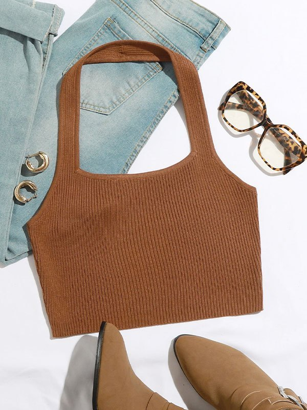 Cropped Halter Ribbed Knit - Brown M