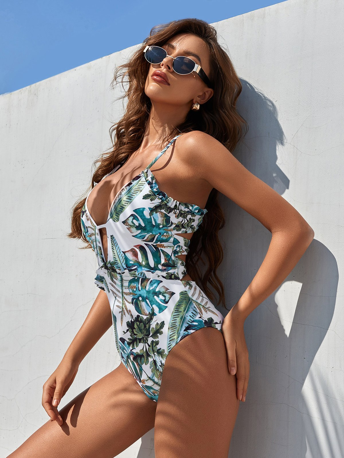 Tropical Plant Print High Waisted One-Piece Swimsuit - Mixcolor L