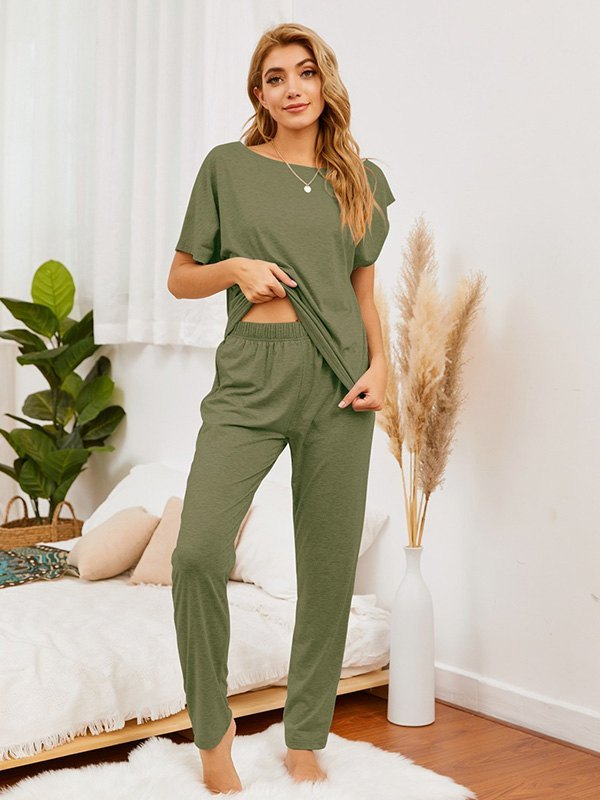 Batwing Sleeve Top & Pants Set - Chive S