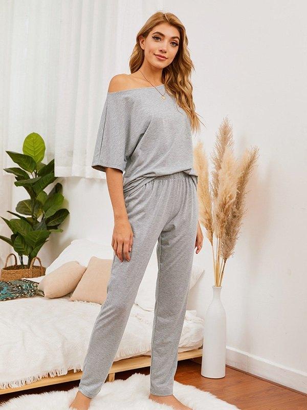 Batwing Sleeve Top & Pants Set - Grey L