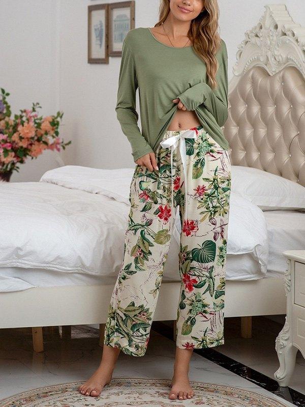 Solid Drop Shoulder Top & Floral Print Pants Set - Green M