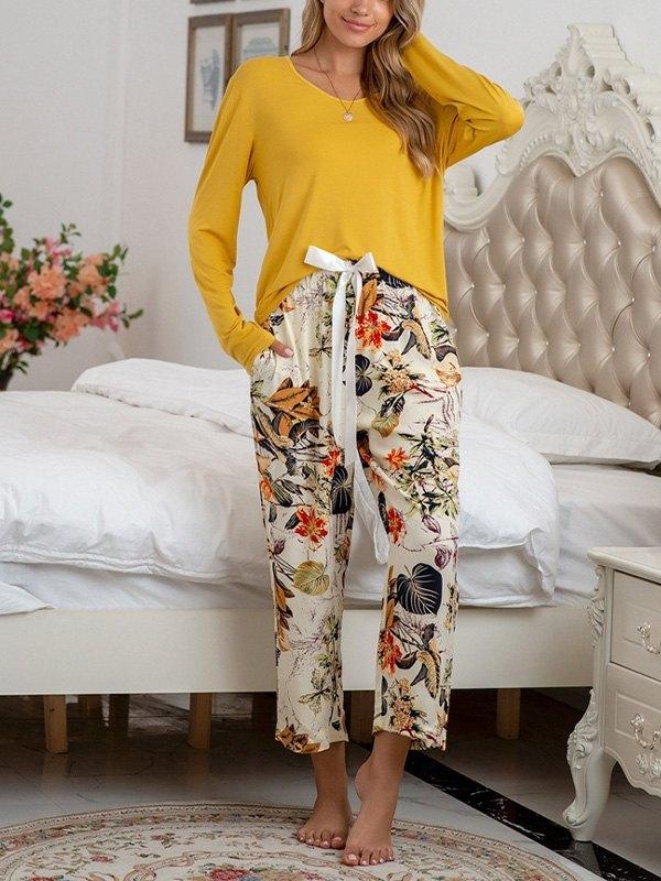 Solid Drop Shoulder Top & Floral Print Pants Set - Yellow XL