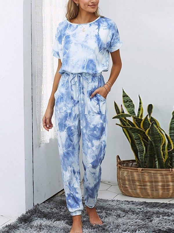 Tie Dye Drop Shoulder Top & Pants Set - Blue L