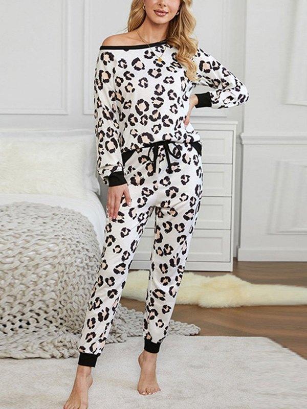 Leopard Print Drop Shoulder Top & Pants Lounge Set - Leopard Print M