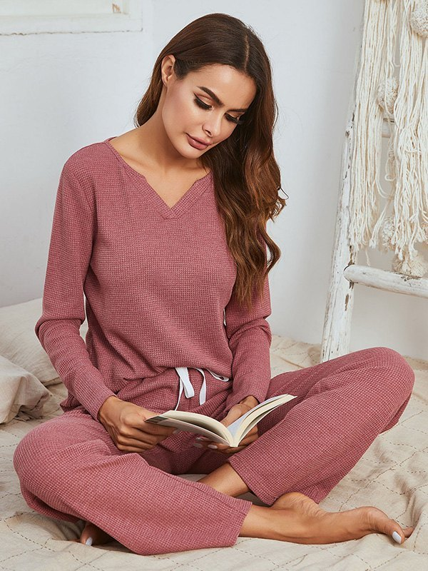 Waffle Knit Notched Top And Pants Lounge Set - Pink S