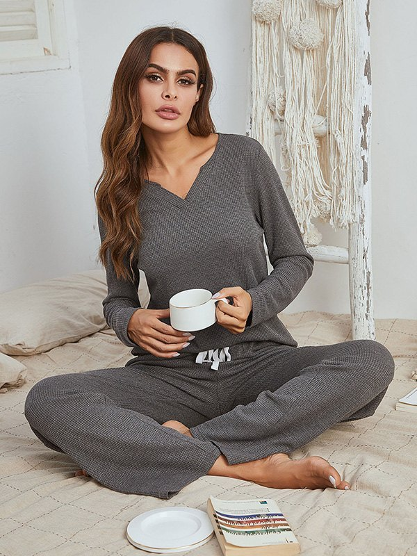 Waffle Knit Notched Top And Pants Lounge Set - Grey L