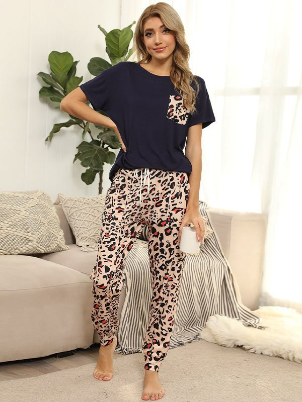 Tie Dye Pocket Top And Pants Lounge Set - Navy Blue S