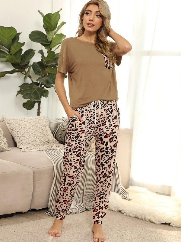 Tie Dye Pocket Top And Pants Lounge Set - Khaki L