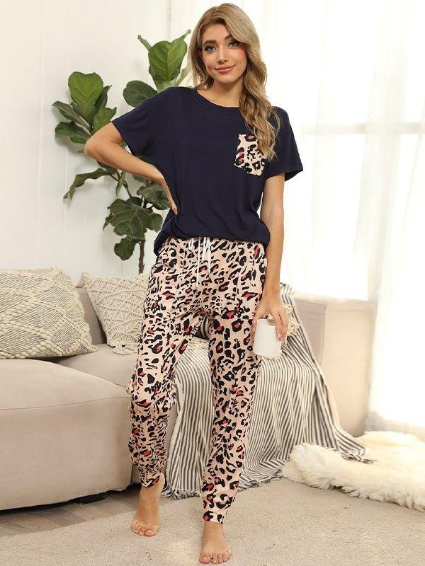 Tie Dye Pocket Top And Pants Lounge Set - Navy Blue XL