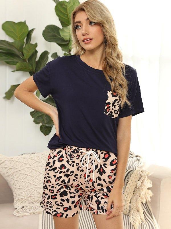 Leopard Print Pocket Top And Shorts Set - Leopard Print L