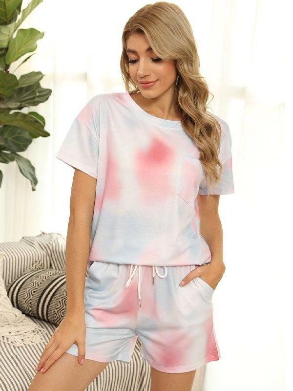 Tie Dye Pocket Top & Shorts Lounge Set - Pink L